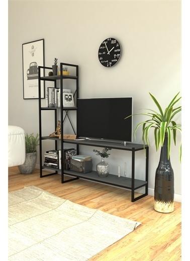 Mobitopya Nilamu Antrasit  Tv Ünitesi, Açık Raf, Kitaplık, Ofis, Ev, Salon, Tv Sehpası, Dekoratif Antrasit